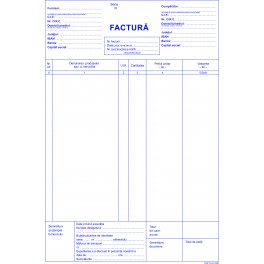 Facturi fara TVA, carnet A4, 3 ex/set, 50 seturi/carnet