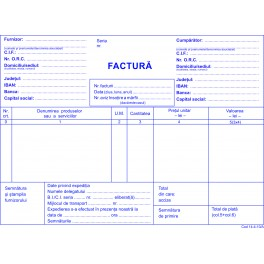 Facturi fara TVA, carnet A5, 3 ex/set, 50 seturi/carnet